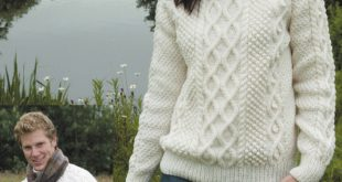aran knitting patterns double cable sweater in wendy aran with wool - 5587 | knitting patterns ooluapb