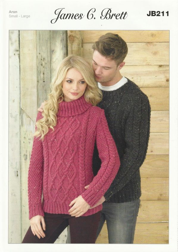 aran knitting patterns james c brett mens u0026 ladies sweaters aran knitting pattern (jb211) . cysqpxt