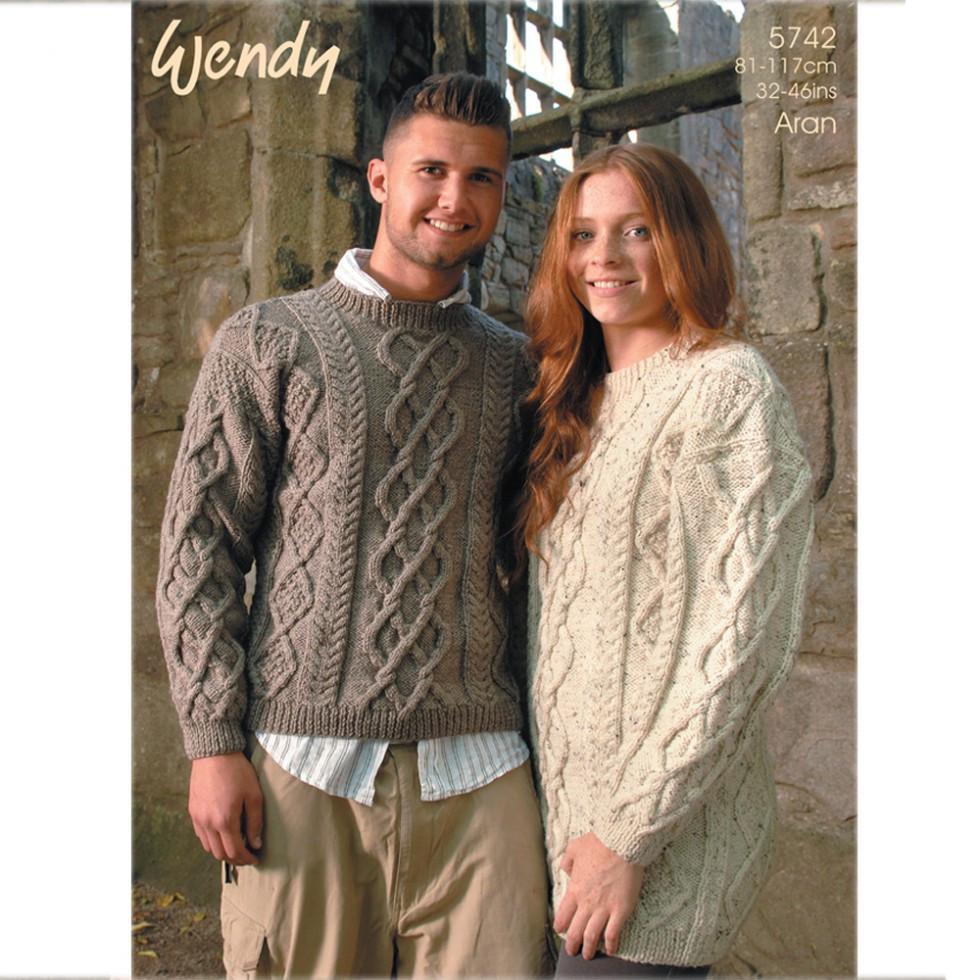 aran knitting patterns wendy mens u0026 ladies sweaters traditional wool aran knitting pattern 5742 cjcixjb