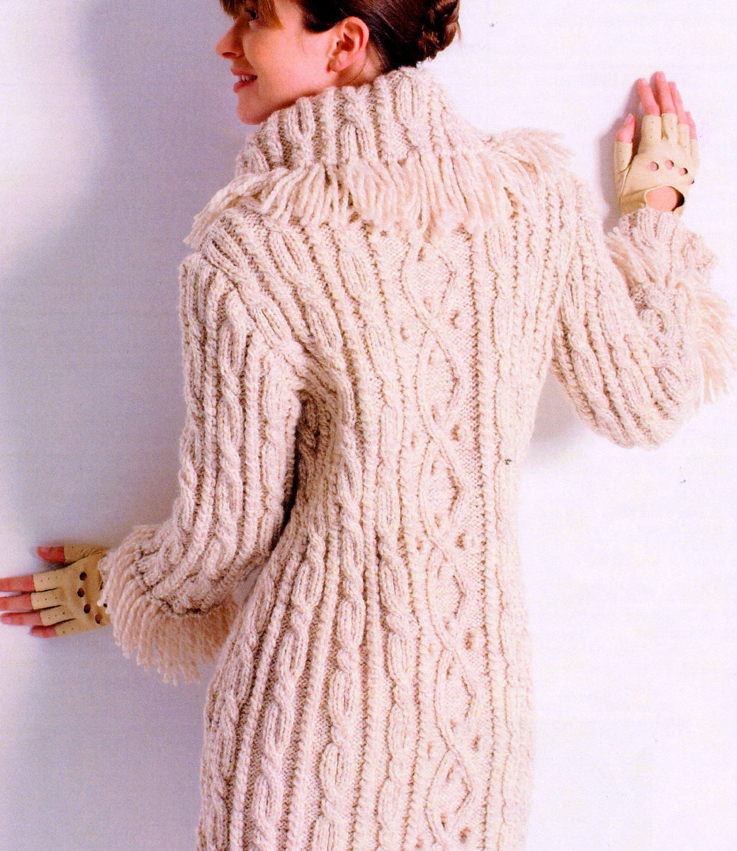 aran knitting patterns womans aran cable/bobble 3/4 coat fringed collar/cuffs 32 - 45 cffplnt