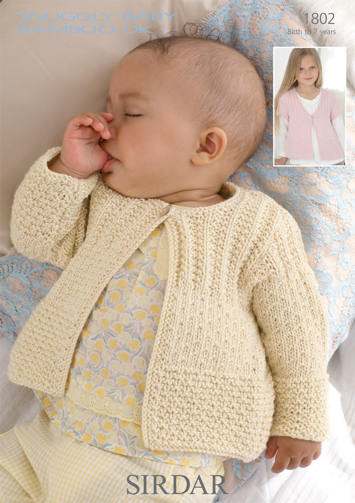 baby knitting patterns cardigans in sirdar snuggly baby bamboo dk - 1802 - downloadable pdf cclkpes