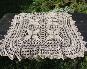 beige knitted tablecloth - square crochet tablecloth - lace tablecloth -  home mqtsylu
