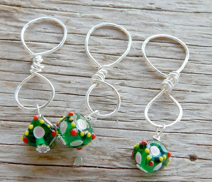 Best Knitting Accessories knitting stitch markers,green lampwork knitting stitch markers, set of  three by cowgirlupladies ojxlgfx