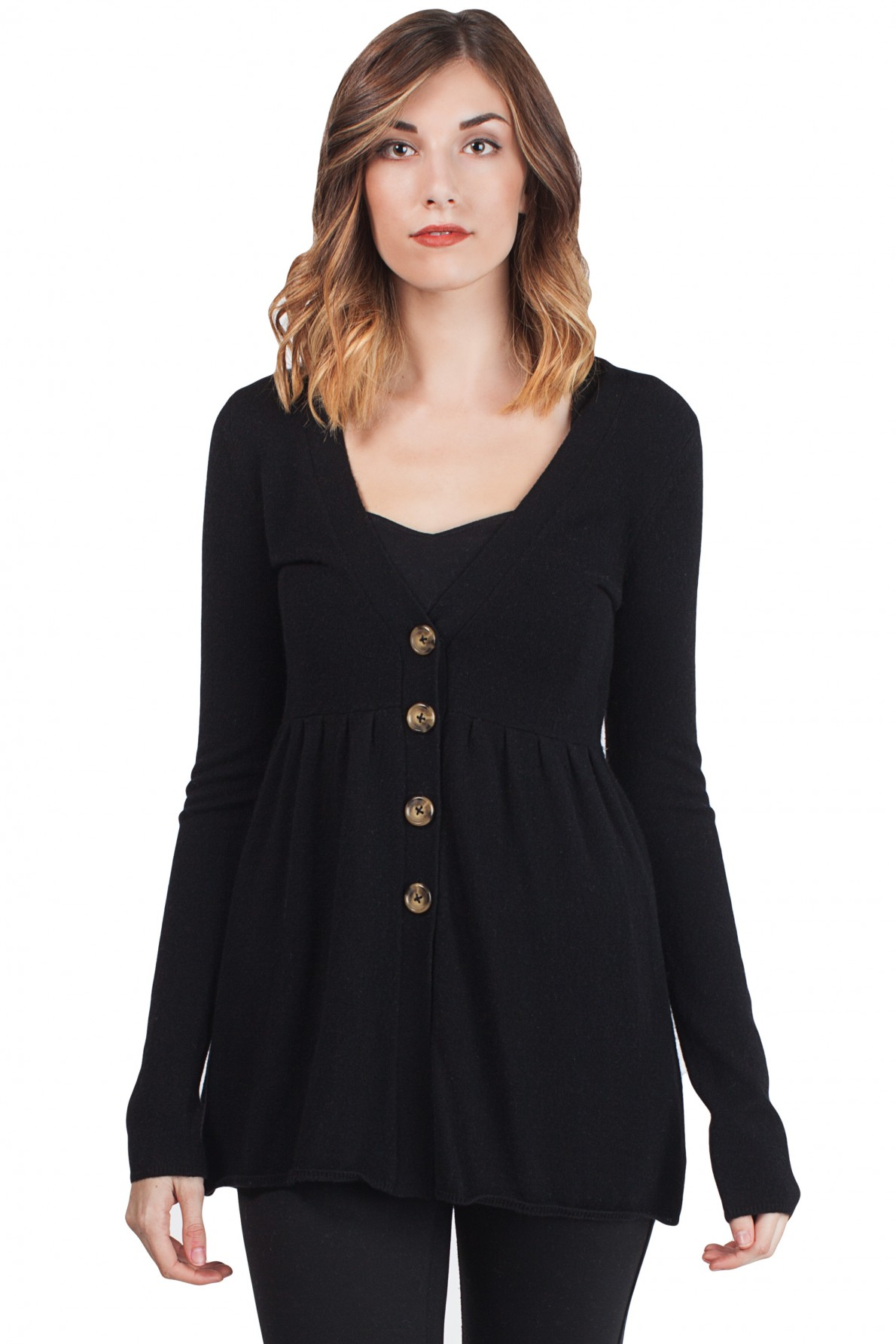 black cashmere deep v neck empire long sleeve tunic cashmere cardigan front gpxyuin