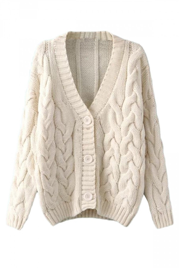 cable knit cardigan beige white warm womens cable