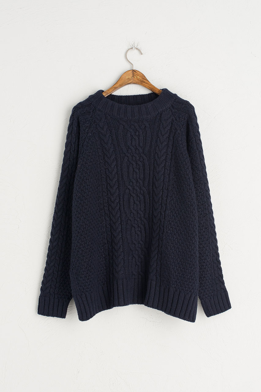 cable knit jumper, navy xvnxiwk