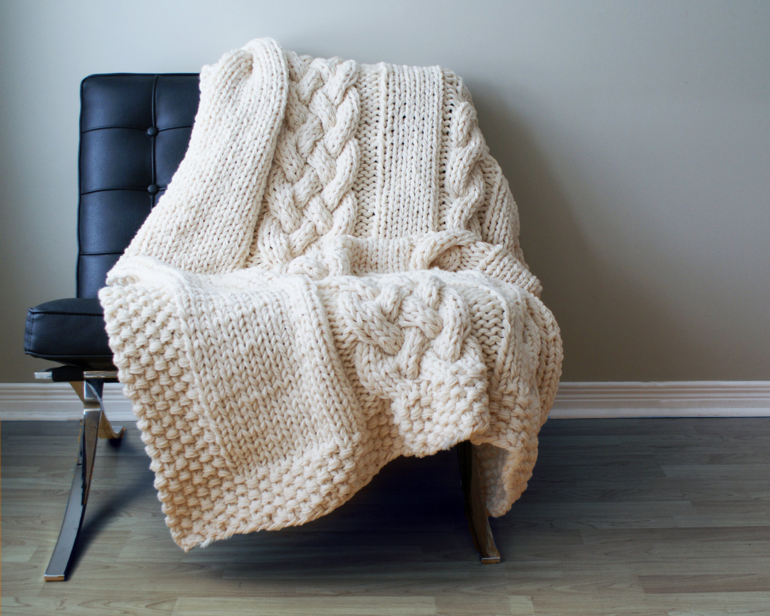 Various Styles Of Cable Knit Throw