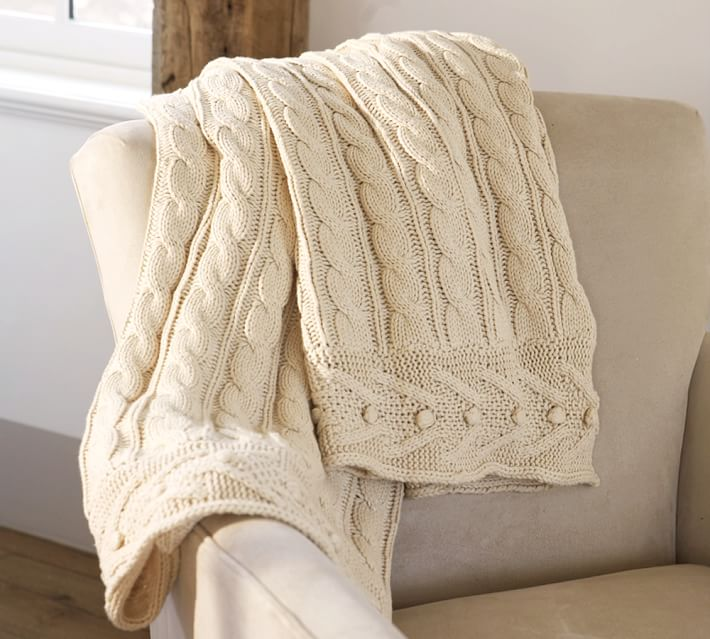 cable knit throw | pottery barn dbizzml