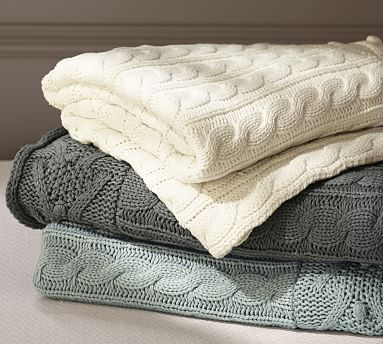 cable knit throw | pottery barn uzucwfn
