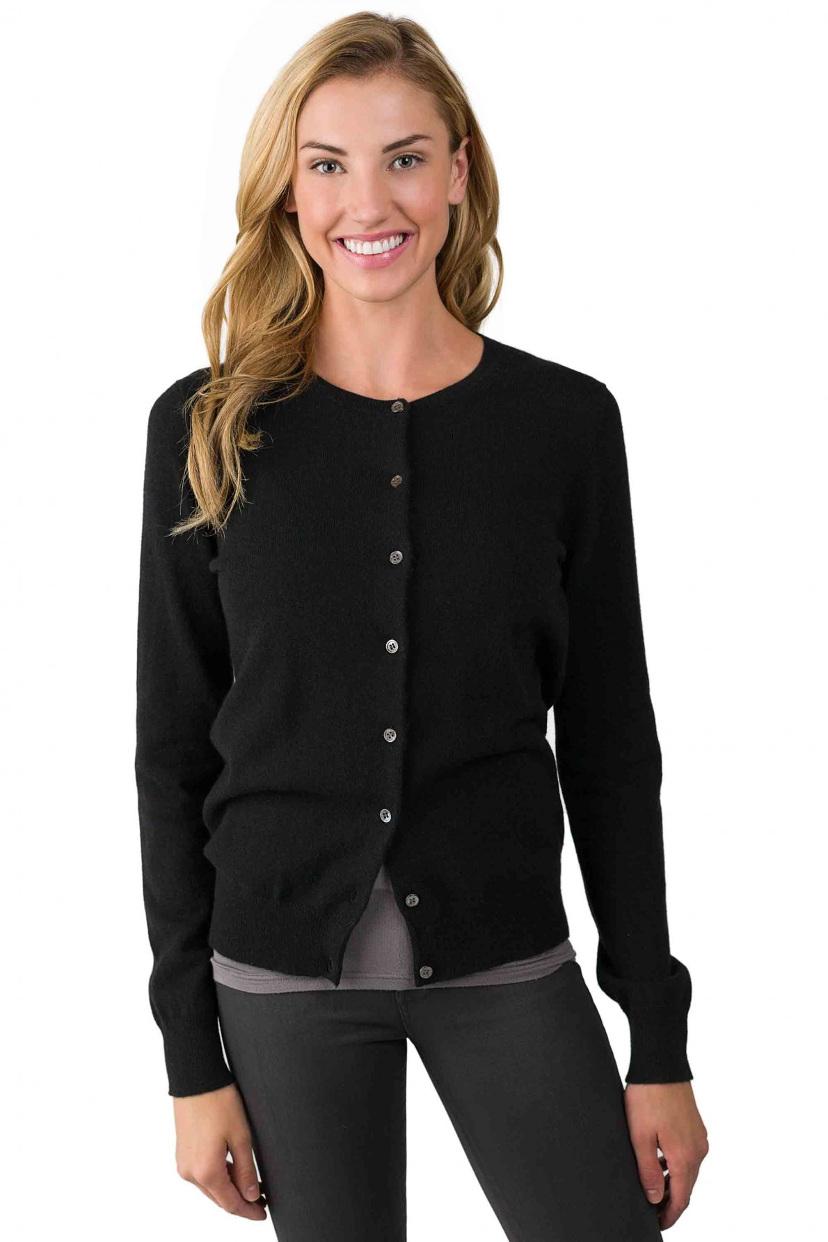 cashmere cardigan black cashmere button front cardigan sweater right front view bfpoghs