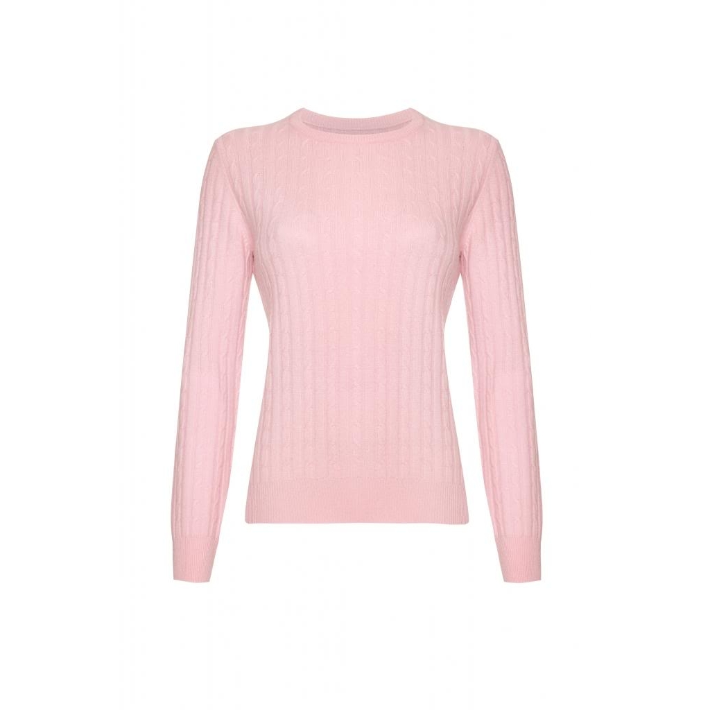 cashmere jumpers cashmere cable round neck jumper, baby pink yqzgrmn