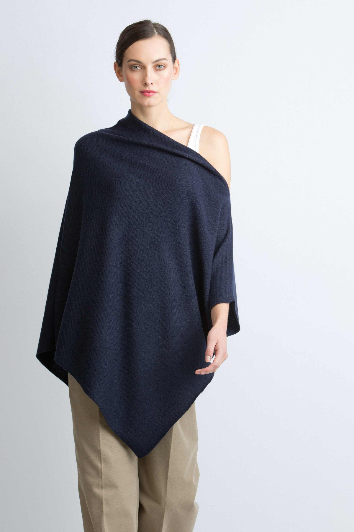 Cashmere poncho cashmere navy knitted poncho in navy wgoxobi