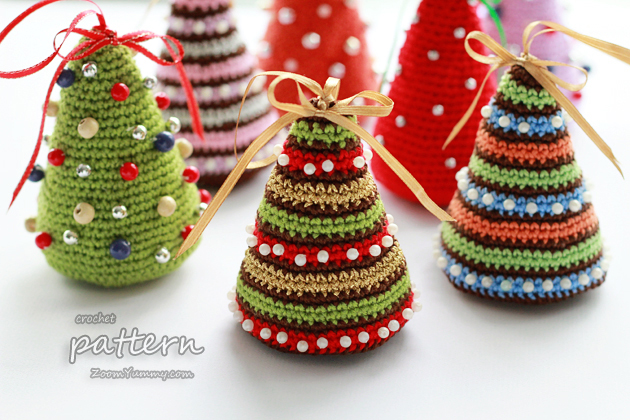 christmas crochet crochet pattern - little colorful christmas trees vflohwt