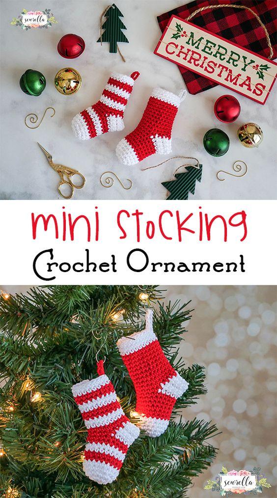 christmas crochet patterns crochet mini stockings ornament free pattern lfhixcv