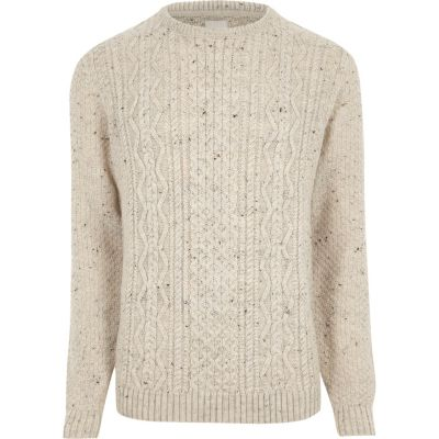 cream flecked cable knit jumper bmruatw