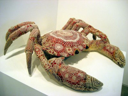 Crochet art a vasconcelos hand-crochet covered crab. the artist considers her crochet  to be elwxpff