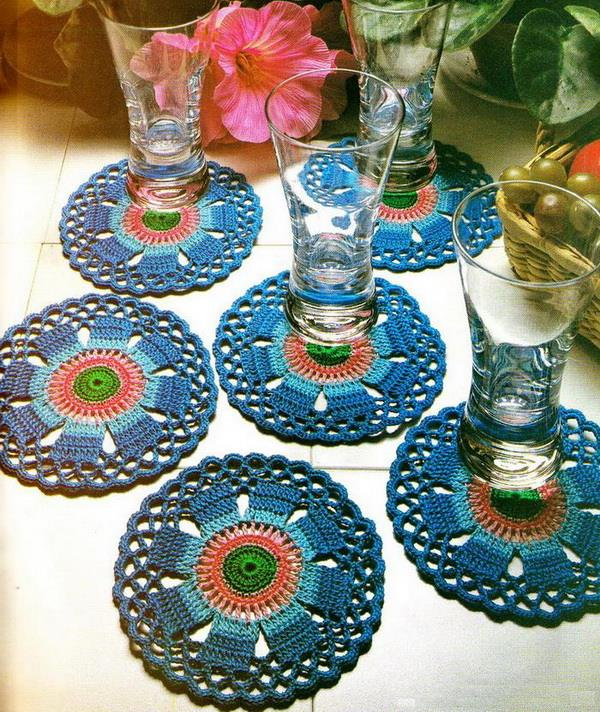 Crochet art crochet pattern of beautiful colorful coasters oisvriv