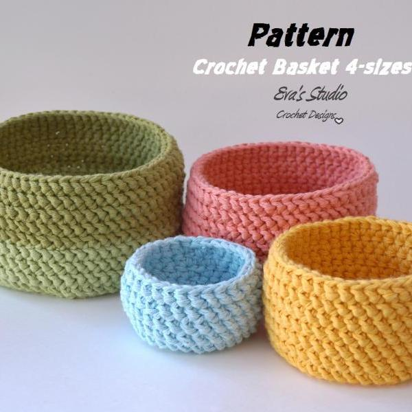 crochet basket pattern crochet basket - 4 sizes, crochet pattern, easy, crochet pattern pdf, great zbhmjae