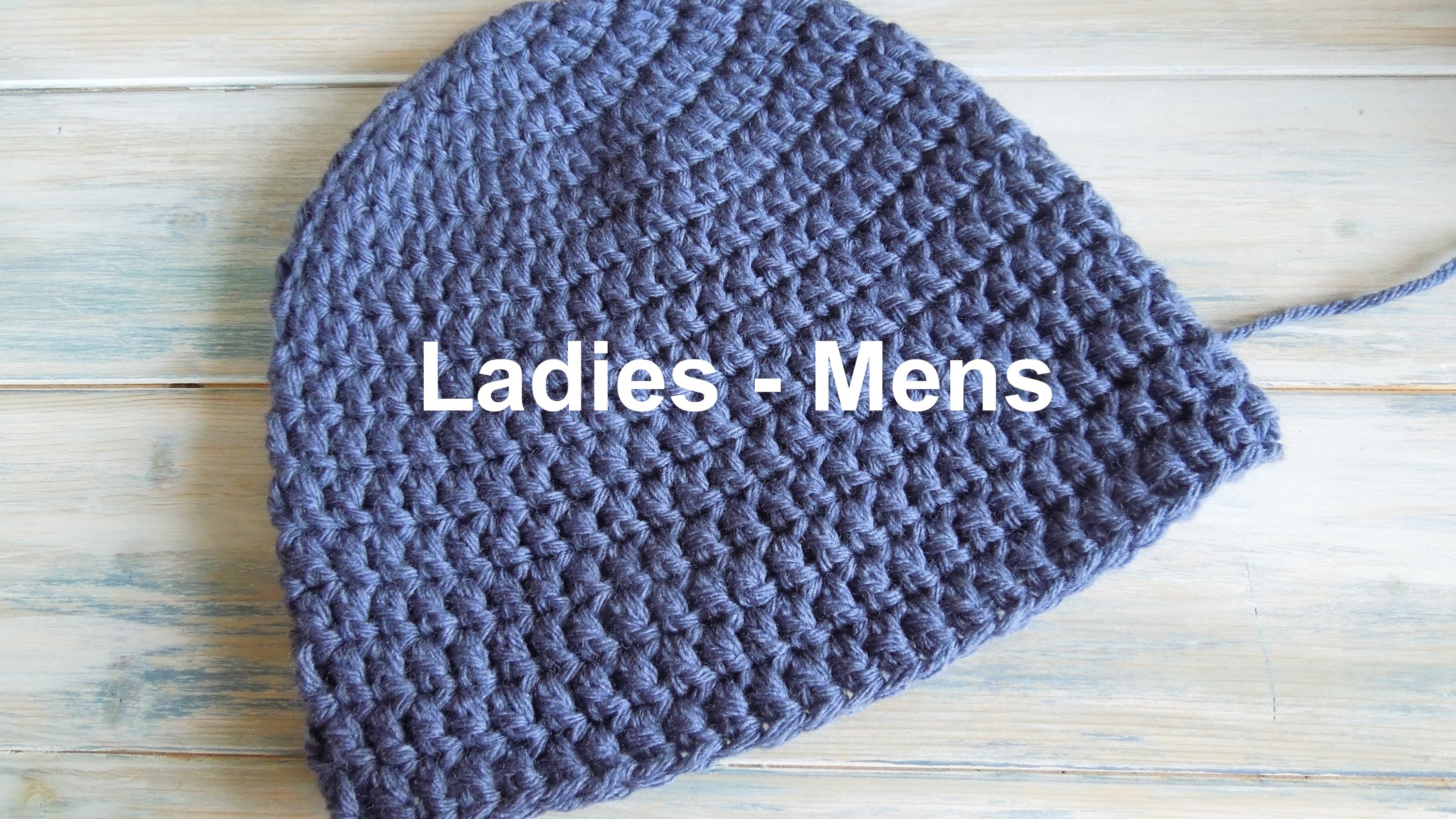 Crochet Beanie Pattern (crochet) how to - crochet a simple beanie for ladies - mens size dhsgfmk