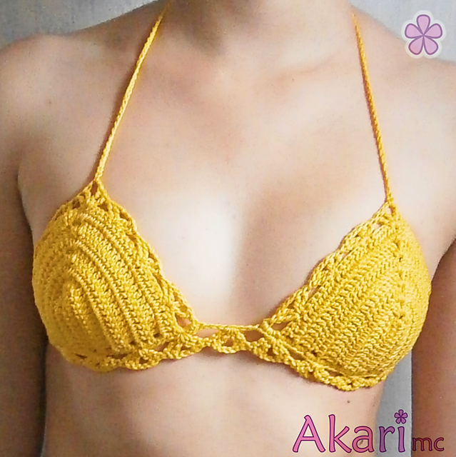 crochet bikini top ravelry: easy triangle bikini top with shells _ m25 pattern by melissa aqlgmbq