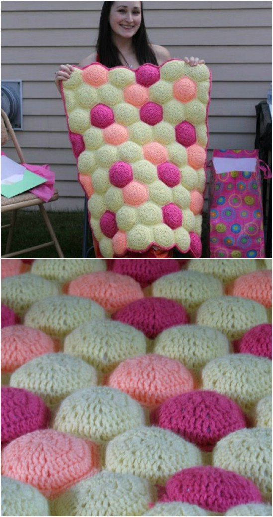 Crochet Blanket Patterns 5. hexa puff quilt fwortqo