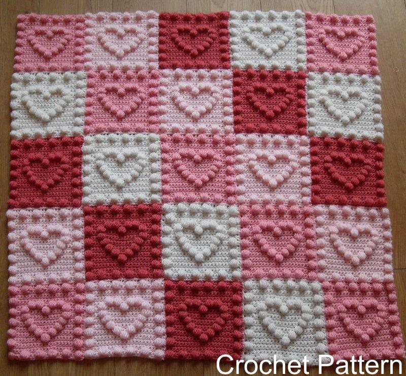 crochet blankets crochet pattern for baby blanket - heart motifs by peach.unicorn | ebay fkuixru