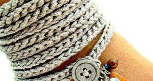 crochet bracelet with charms, wrap bracelet, silver grey, cuff bracelet,  bohemian jewelry, rwgwlnl