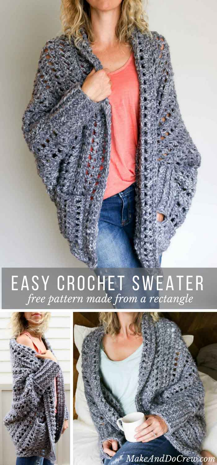 crochet cardigan creatively constructed from a simple rectangle, this flattering chunky crochet  sweater comes jwgmpcs