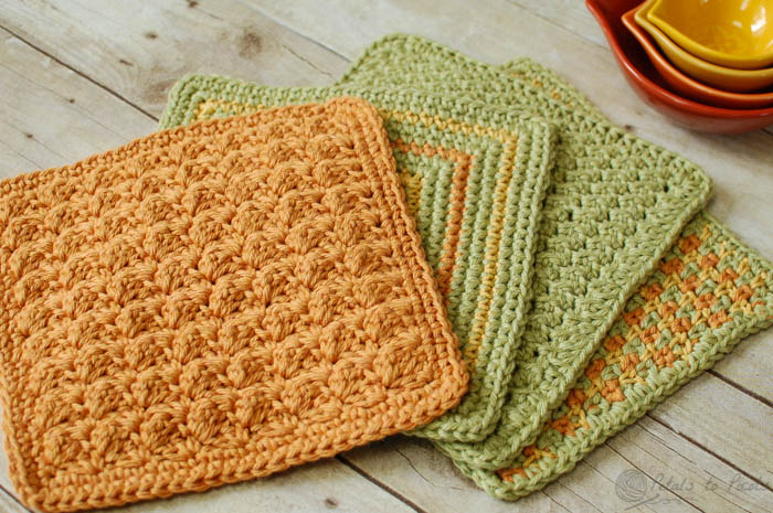 crochet dishcloth crochet dishcloths u2026 4 quick and easy crochet dishcloths patterns |  www.petalstopicots.com jxiqfob