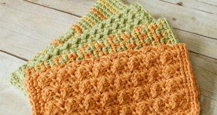 crochet dishcloth crochet dishcloths u2026 4 quick and easy crochet dishcloths patterns |  www.petalstopicots.com tgkrzuo