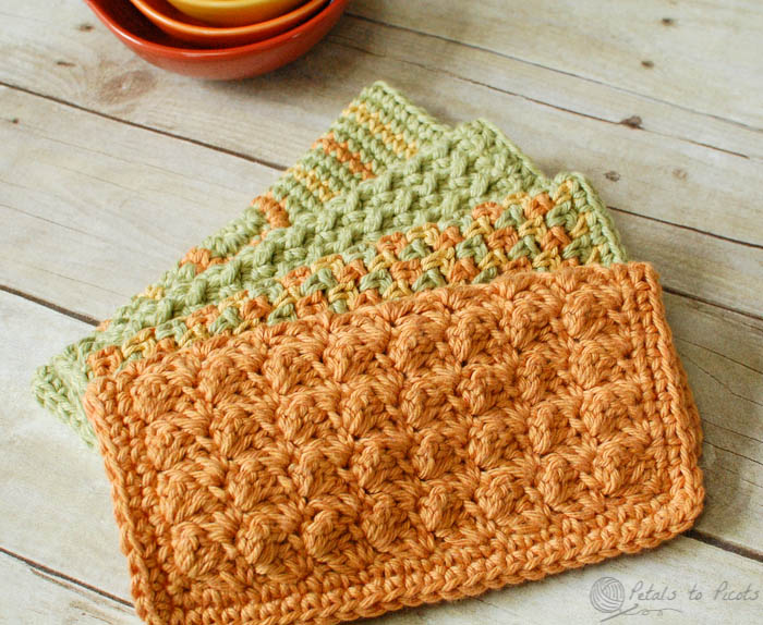 crochet dishcloth patterns crochet dishcloths u2026 4 quick and easy crochet dishcloths patterns |  www.petalstopicots.com rewsodz