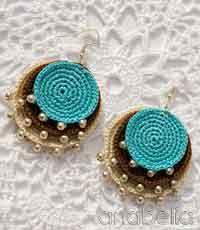 crochet earrings boho turquoise crochet pendant and earrings