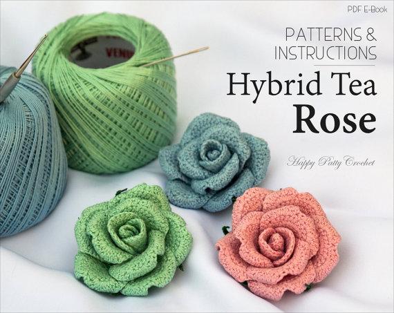 crochet flower pattern - crochet rose pattern - crochet pattern - brooch jfhxnsv