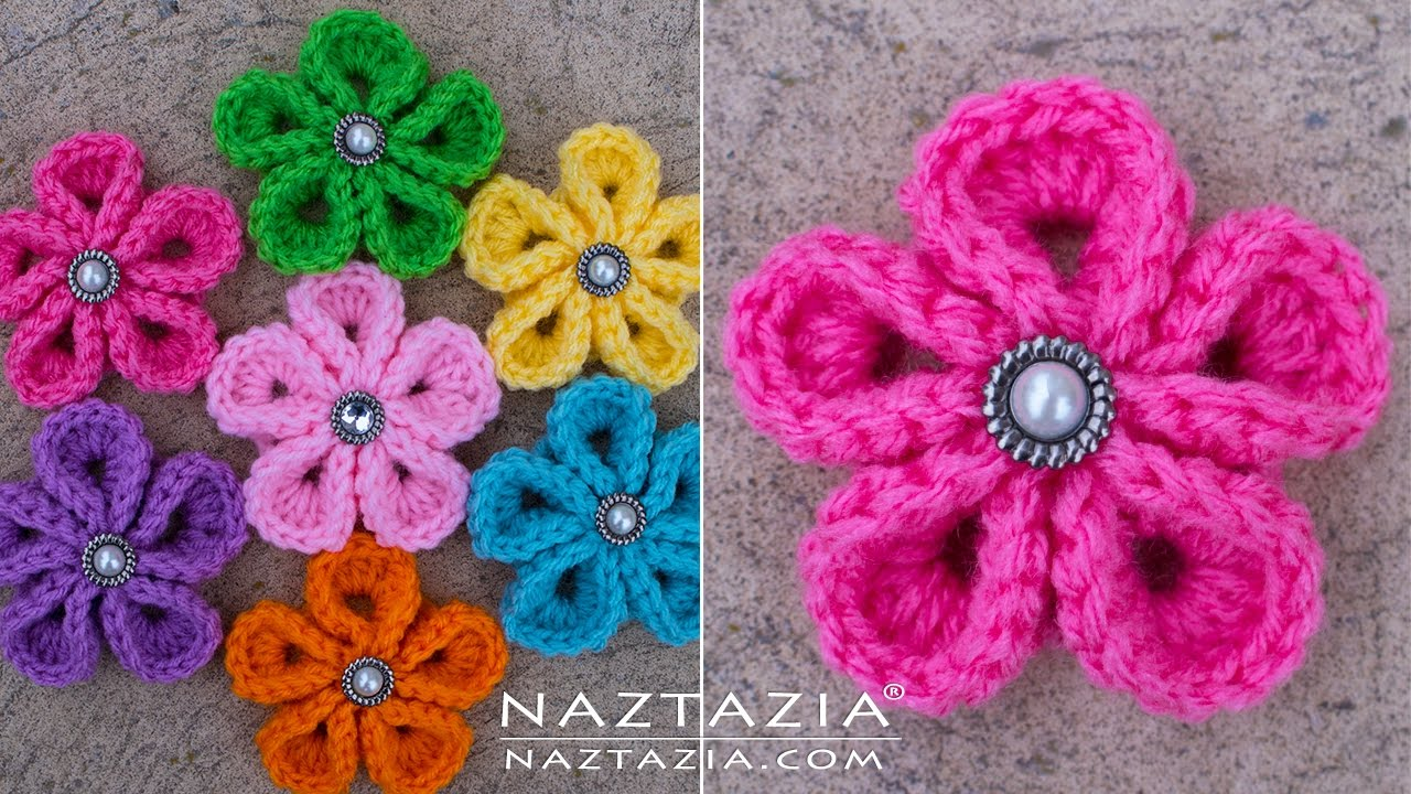 crochet flowers diy tutorial - how to crochet kanzashi flower - flowers of japan - xgmiohe