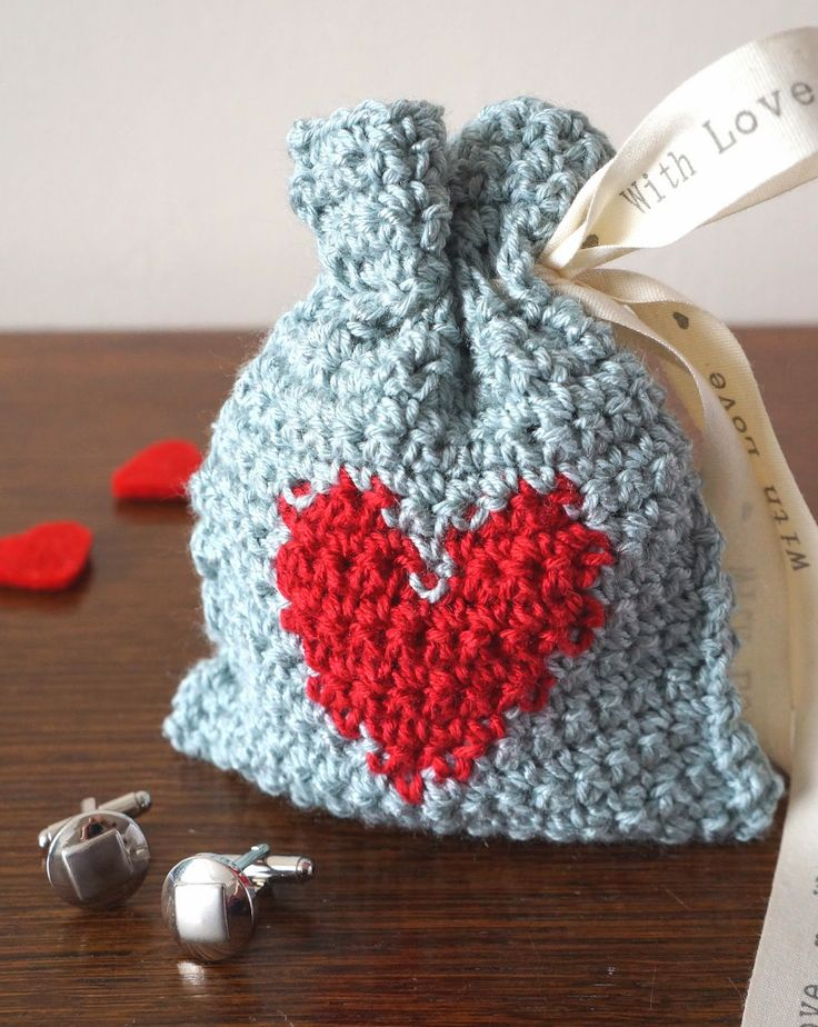 crochet gifts crocheted heart gift bag hptewyx