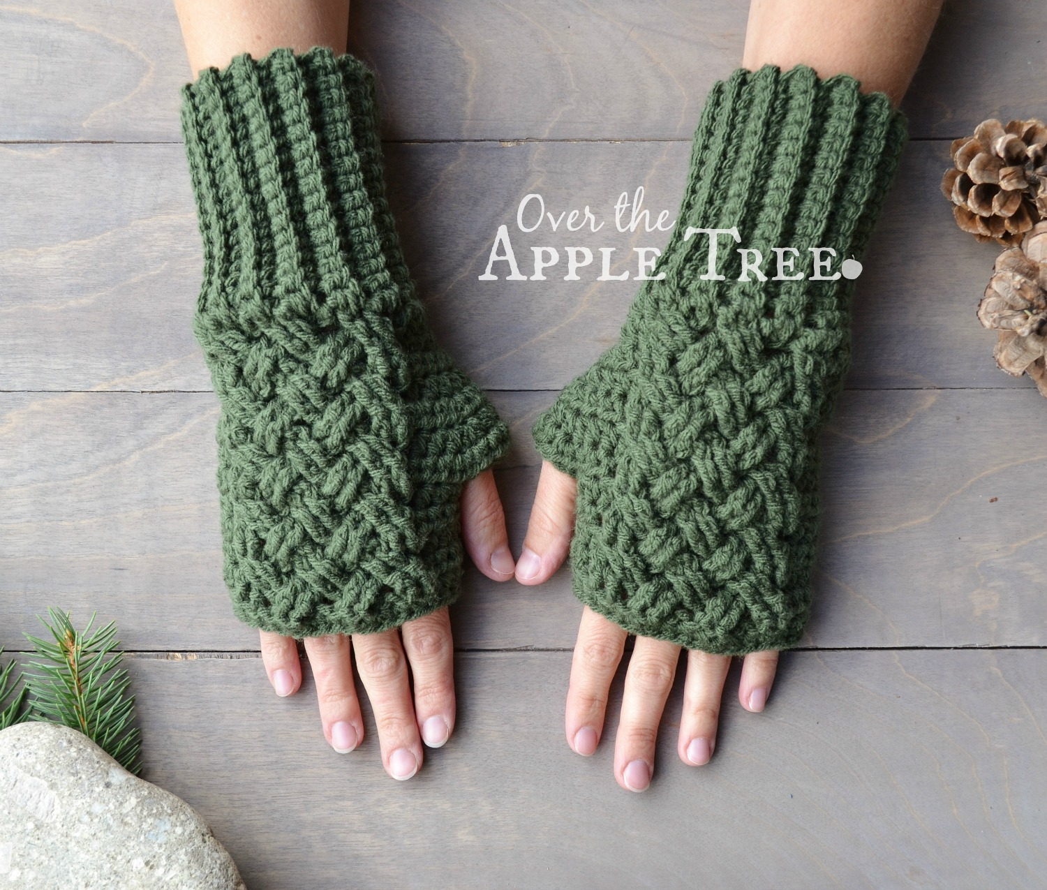 crochet gloves celtic weave fingerless gloves, pattern by over the apple tree udcdicx