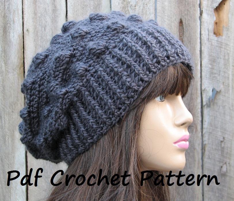 crochet hat patterns crochet hat - slouchy hat, crochet pattern pdf,easy, pattern no. 60 keurzgh