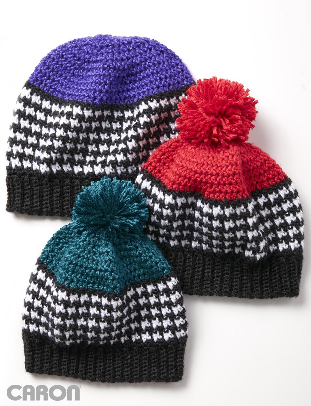 crochet hats houndstooth bright hat dnvbhdq