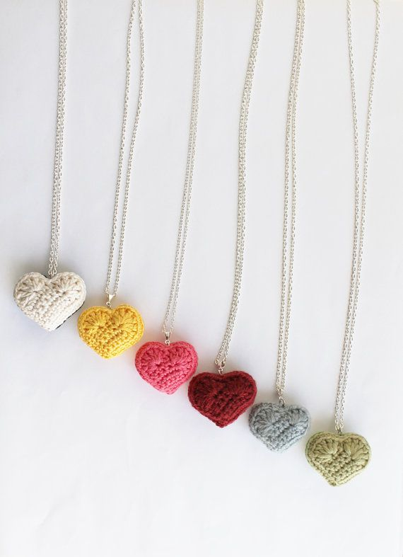 crochet jewelry #crocheted heart necklace - iu0027d like to see one modeled on a neck jdpfjup