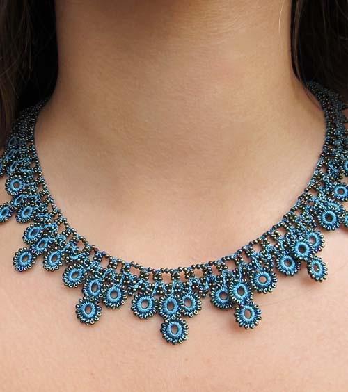 crochet jewelry turquoise chic crochet necklace - silk and wool crochet - high5humans jenptaz