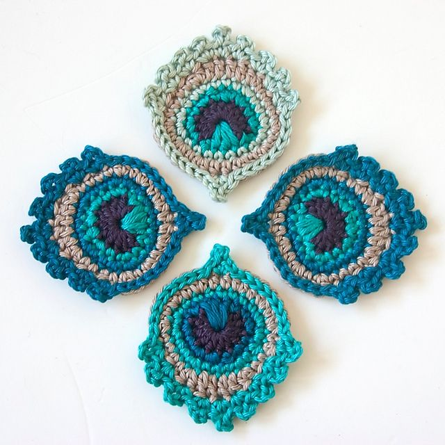 Crochet motifs crochet motif or garland: small peacock feather pattern by christa veenstra jsvtxhp