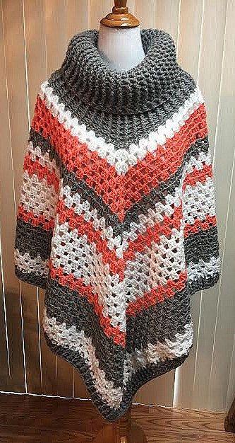 crochet poncho, cowl neck poncho, gray poncho, boho poncho, crochet  clothing, nimfefu