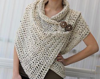 crochet poncho crochet pattern, women crochet pattern, crochet wrap pattern, patron de  crochet, azali bpotkot