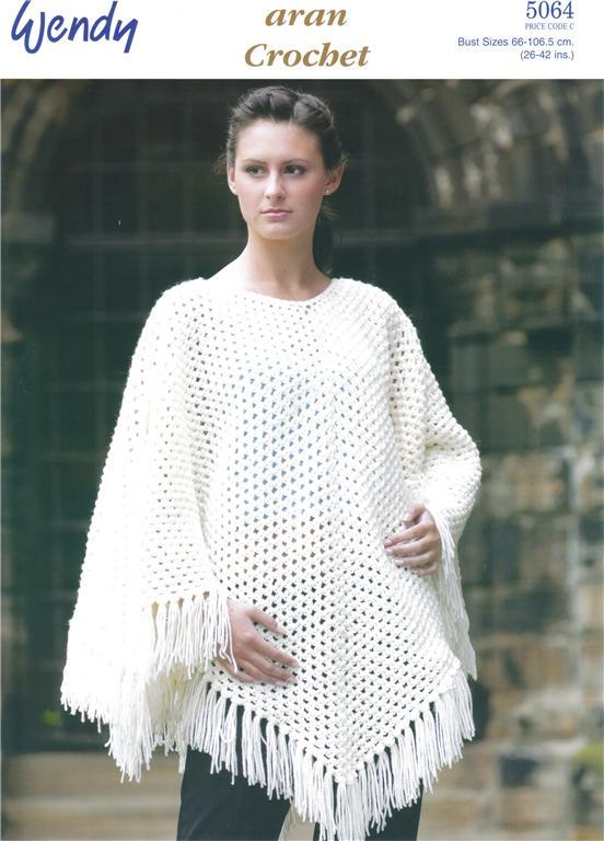 crochet poncho pattern aran poncho crochet pattern 5064 gbmxkfg