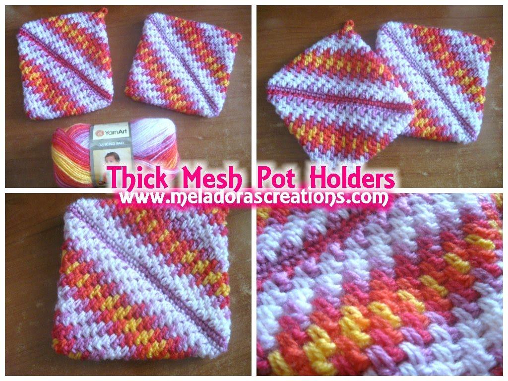crochet pot holders crocheted pot holders thick crochet mesh / brick stitch stitch - crochet ugokygm