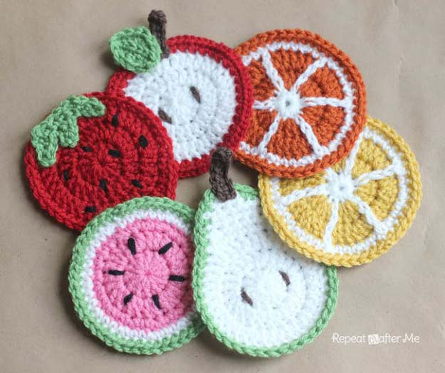 crochet projects crochet patterns and projects for teens - crochet fruit coasters - best moelxlu