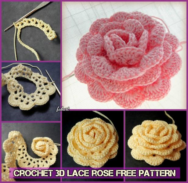 crochet rose pattern diy crochet 3d rose lace rose free pattern forssws