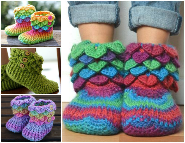 crochet slipper patterns view in gallery crocodile-stitch-slipper-boots- dkygpsg
