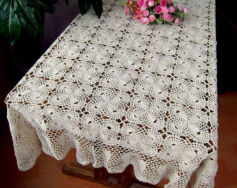 crochet tablecloth 100% handmade table cover, crochet pattern bowknot table topper  rectangular, oblong crochet yzfsgds