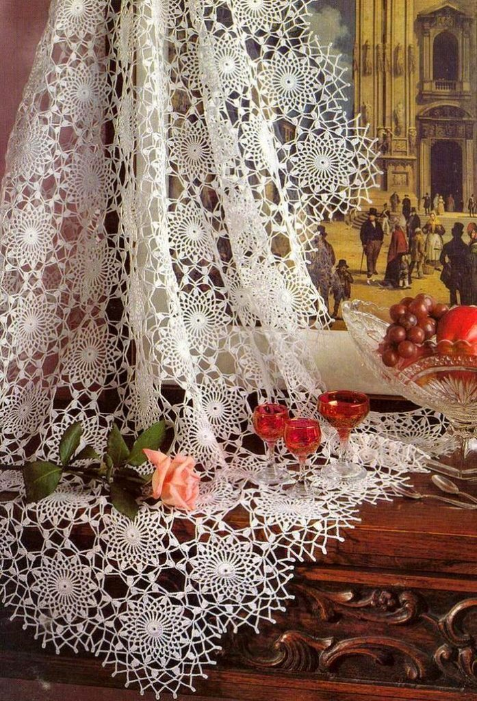 Crochet Tablecloth Delicate Round Motif Tablecloth Crochet Pattern